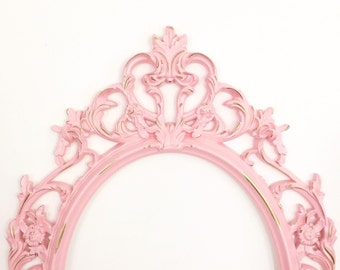Pink Shabby Chic Frame, Baby Shower Gift, Wedding Photo Prop, Pink Nursery Baroque Frame, Large Wall Hanging, Pink with Gold