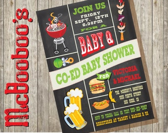 """Chalkboard Co-ed Couples Baby Shower """"Baby Q"""" Barbecue Party Invitations"""
