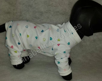 Jersey Knit Dog Pajamas, Heart Dog Pajamas,   Polka Dot Dog Clothing, Dog Pajamas