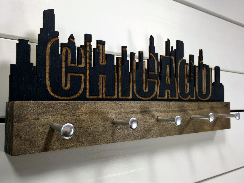 chicago skyline key holder wall mounted modern wood. Black Bedroom Furniture Sets. Home Design Ideas