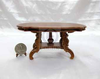 """Miniature 1"""" Scale Wooden Carved Dining Table[Finished In Walnut] For Dollhouse"""
