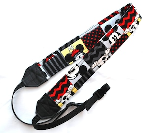 Mickey Mouse and Minnie Mouse Chevron dSLR Camera Strap! Complete Camera Strap!  Standard Size!