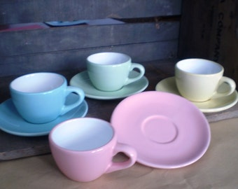 Pastel Cup and Saucer Set of 4 featuring Blue, Green, Yellow and Pink
