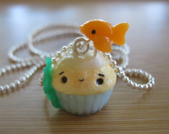 Fish Tank Cupcake Charm Necklace Pendant made from polymer clay.