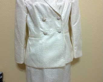 Vintage Valerie Stevens Evening Ivory  Two Piece Suit size 4