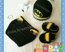 Inspired Batman  crochet baby hat diaper cover shoes set, baby Batman set.