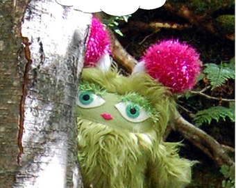 Gilly the Brumblewump - She is Not a Monster! Green, furry stuffed animal.  Cute and cuddly children's book character.
