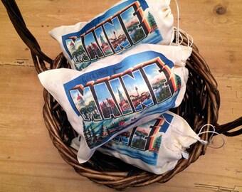5 State Postcard Vintage Retro Gift Bag Set - Party Favor Bag 5x7 6x8 7x11 - Drawstring - Wedding Favor bags