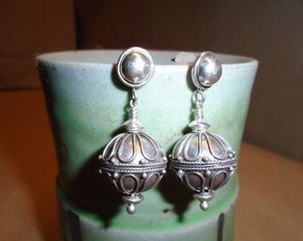 Sterling Silver Bali Bead Earrings