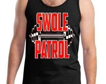 New Men's Swole Patrol Black Tank Top All size S-3XL