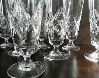 Vintage Crystal Pilsner Glasses S/8