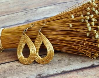Handmade Golden Earrings, Drop Earrings Golden Grass Nickel Free post Gold Earrings, Sensitive Skin,Eco friendly,