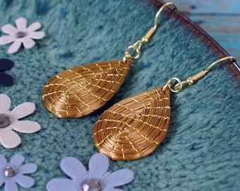 Drop Golden Grass Earrings, Handwoven, Fiber Earrings, Organic Earrings, drop earrings golden