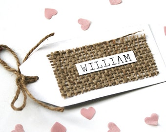 Rustic Hessian, Burlap Detail Place Card WIth Twine Detailing