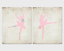 Ballerina Print Set of 2 Printable Art Prints 8x10 Pink and Ivory Ballet Prints Nursery Art Dance Prints Nursery Printables Paper Canoe