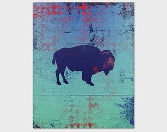Buffalo Art Print, Bison Print, Printable Art, 8x10 Blue Grunge Print, Instant Download, Digital File, Green Floral