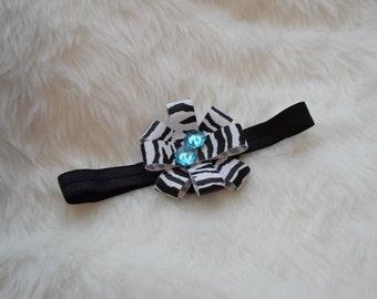 Zebra Ribbon Blue Buttons Black Headband