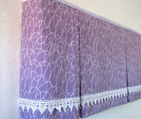 Box Pleated Window Valance/ Purple/ Lavender/ Hidden Rod