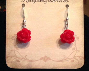 Red red rose dangle earrings ----ON SALE----