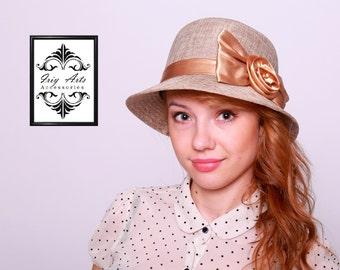 Beautiful Girly Fedora Hat with Golden Satin Embellishment