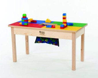 """DUPLO* Compatible Heavy Duty Wood Block Play Table 32""""x16"""" w/ Storage Bag -Preassembled-Made in USA! New!"""