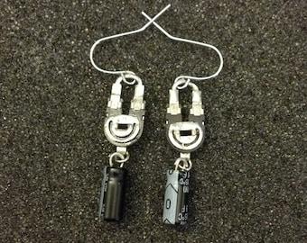 Black Capacitor & Trim Pot Earrings