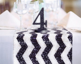Chevron Black and White Sequin Table Runner READY TO SHIP Sparkly Chevron White & Jet Black Sequin Runner for Party Event Table Decor
