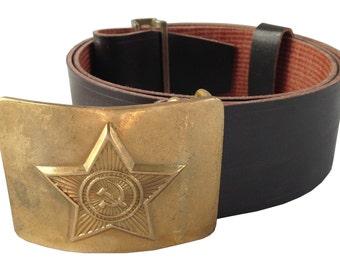 Authentic Unissued Soviet army black leather belt communist Russian USSR Soviet Union CCCP cold war