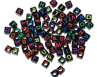 200pcs Mixed Acrylic Spacer Beads Acrylic Cube Alphabet Letter