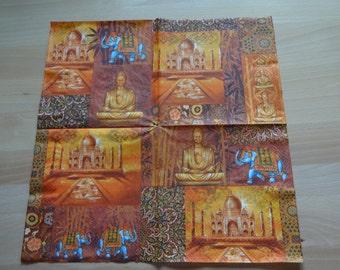 decoupage parer napkins/ paper craft/ scrapbooking/ collage/ India motif napkins