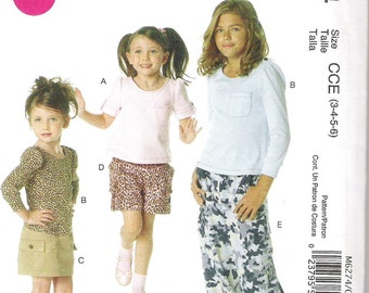 Uncut McCall's Sewing Pattern 6274, Childrens Tops, Skirt, Shorts, Pants sizes 3 to 6