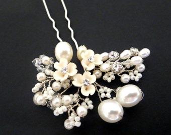 Bridal hair pin, Bridal hair clip, Bridal hair comb, Pearl hair pin, Freshwater pearl, Swarovski crystal hair clip