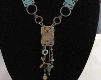 Steampunk hardware statement necklace handmade
