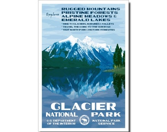 """Glacier National Park Poster, WPA style,  13"""" x 19"""" Signed by the artist. FREE SHIPPING!"""
