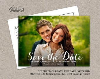 Photo Save The Date Cards | Wedding Photo Save The Dates | Save The Date Postcards With Picture | DIY Printable Save The Date