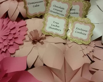 Baby shower banner, candy buffet labels