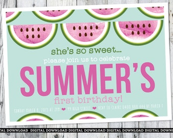 watermelon first birthday invitation