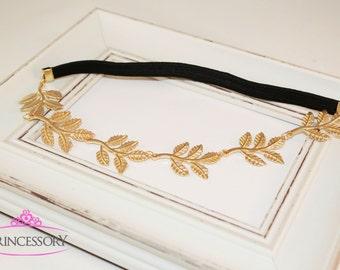 Gold Headband, sorority jewelry, Boho Headband, Greek Goddess Headband, Elastic, Metal Headband,Grecian Gold Leaf Headband, metal leaf