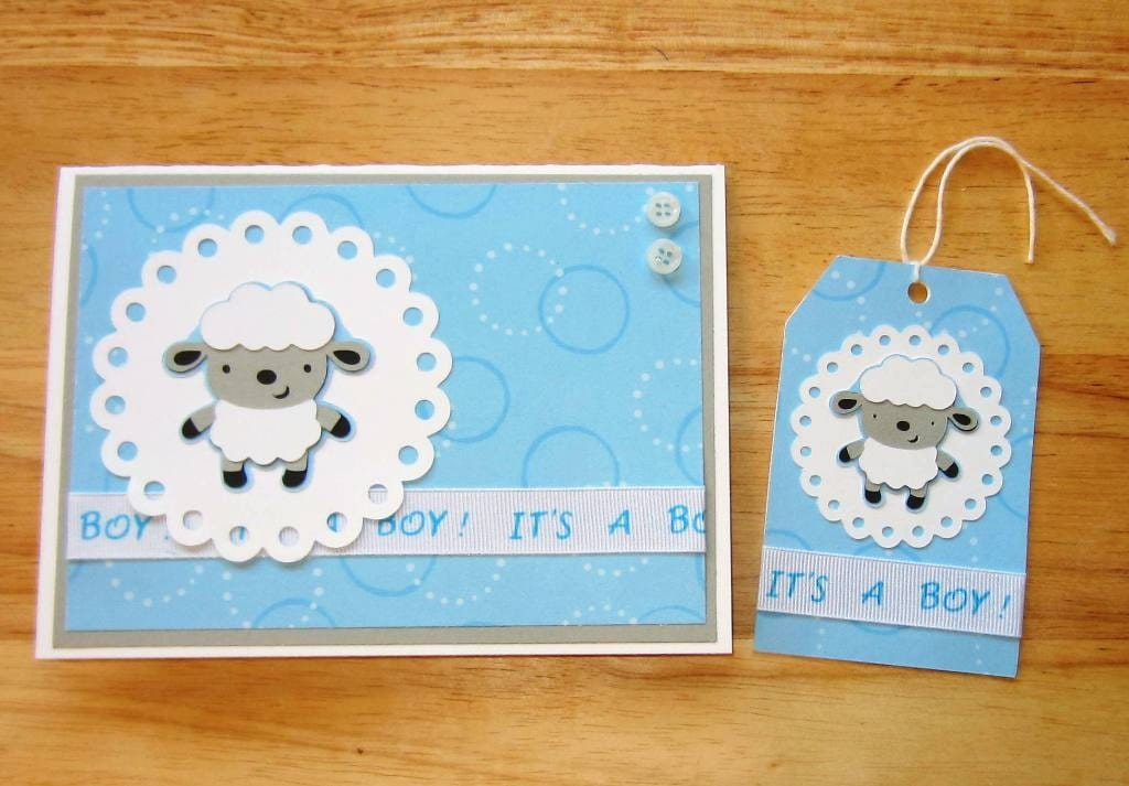 Baby Boy Gift Tags : Baby boy lamb card and gift tag set