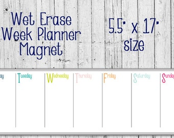 "Dry Erase Calendar Magnet - One Week - 5.5"" x 17"" Size - Organizer Planner - Meal Planner - Monday to Sunday"