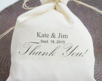 Wedding Favor Bag, Muslin Bag, Personalized Favor Bag, Fabric Bag, 5 x 8, Choice of Thread Color