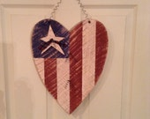 American Flag, Summer Decor, USA, 4th of July, Flag , Primitive Summer Decor, Americana, Heart Flag, Memorial Day