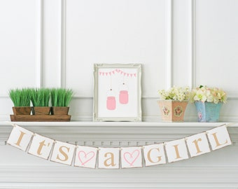 Shabby Chic Baby Shower Banner - Its A Girl Banner - Baby Announcements - Pink Baby Shower Decoration