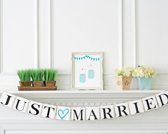 Just Married Banner - Turquoise Wedding Decoration - Just Married Sign - Wedding Car Sign - Wedding Photo Prop - Customize your Color