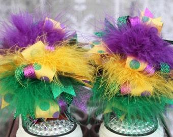 Mardi Gras Shoe Bows or Pigtail bows