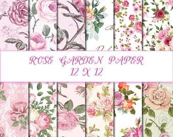 Rose Garden Paper decoupage INSTANT DOWNLOAD digital background 12x12 Scrapbook