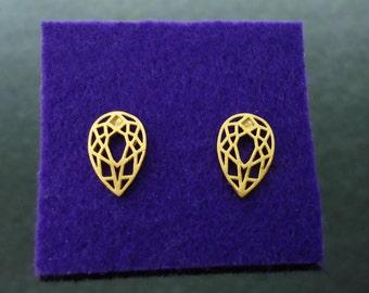 37.  Gold plated, Teardrop Filigree Earrings, cute, simple earrings