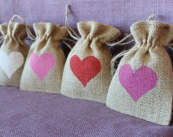 "Small burlap 3.5"" x 5"" bag.  Custom Wedding favor bag. Baby shower, birthday. Burlap heart mini Sack. Rustic Wedding Favor.  Burlap Bag"