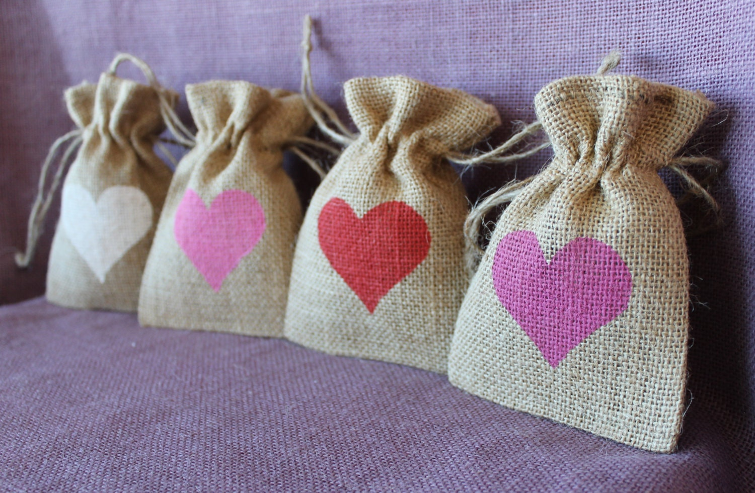 Small burlap 3.5 5 bag. Custom Wedding favor