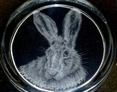 Hand engraved glass paperweight, Hare.